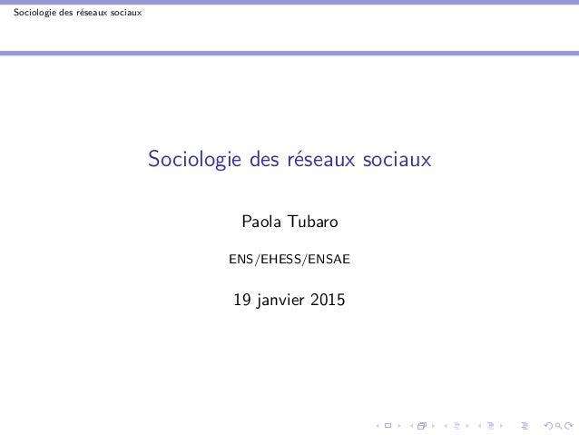 Sociologie des réseaux sociaux Sociologie des réseaux sociaux Paola Tubaro ENS/EHESS/ENSAE 19 janvier 2015