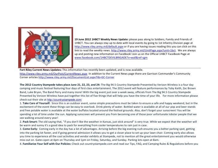 19 June 2012 1HBCT Weekly News Update