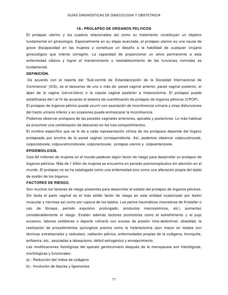 GUÍAS DIAGNÓSTICAS DE GINECOLOGIA Y OBSTETRICIA                                19.- PROLAPSO DE ORGANOS PELVICOSEl prolaps...