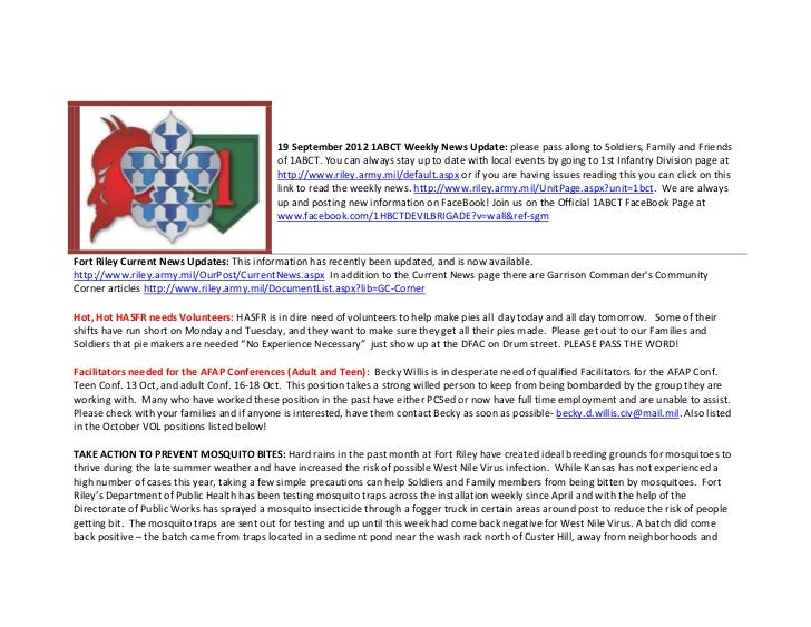 19 September 2012 1ABCT Weekly News Update: please pass along to Soldiers, Family and Friends                             ...