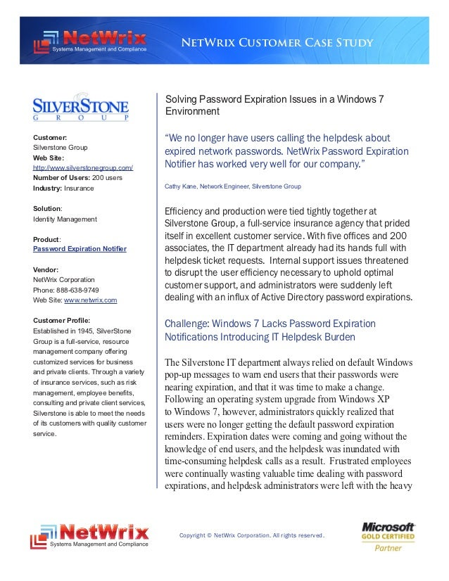 NetWrix Customer Case Study                                          Solving Password Expiration Issues in a Windows 7    ...