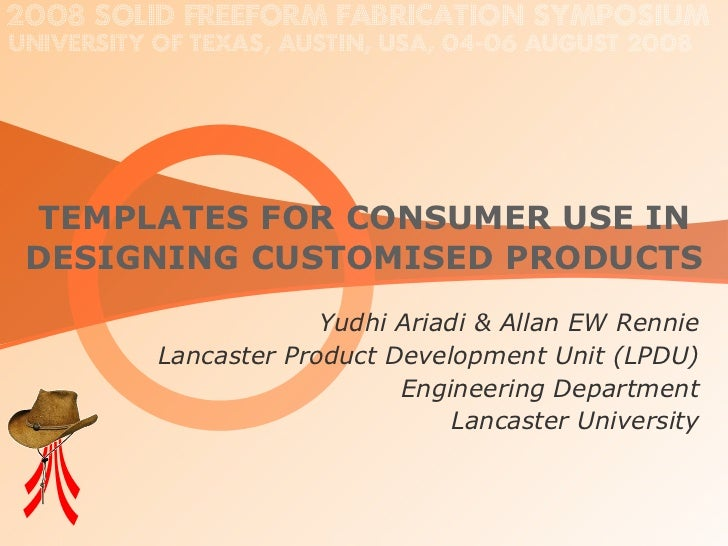 Templates for Consumer Use in Designing Customised Products