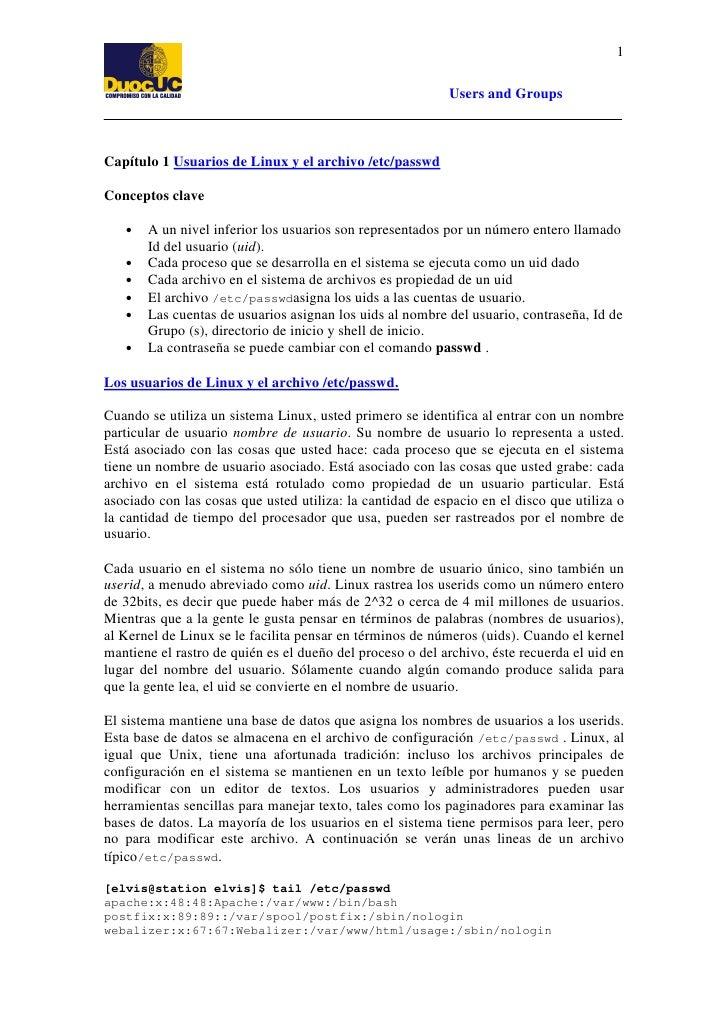 1                                                             Users and Groups    Capítulo 1 Usuarios de Linux y el archiv...