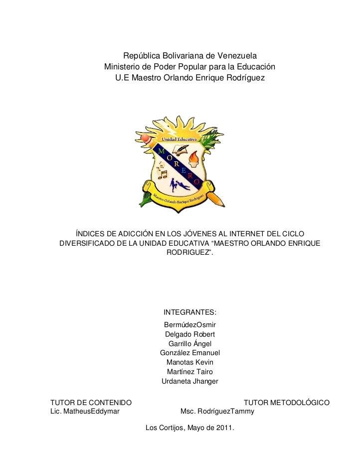 República Bolivariana de Venezuela<br />Ministerio de Poder Popular para la Educación<br />U.E Maestro Orlando Enrique Rod...