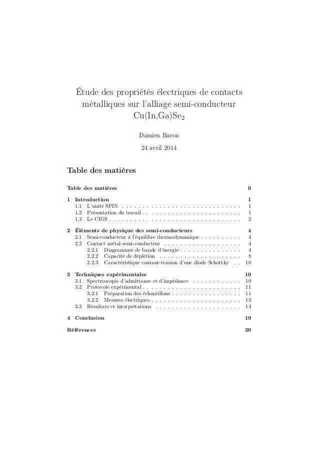 Étude des propriétés électriques de contacts métalliques sur l'alliage semi-conducteur Cu(In,Ga)Se2 Damien Baron 24 avril ...