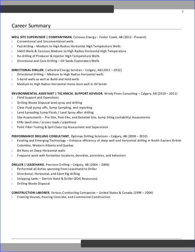 deutschotis drilling supervisor resume od edit