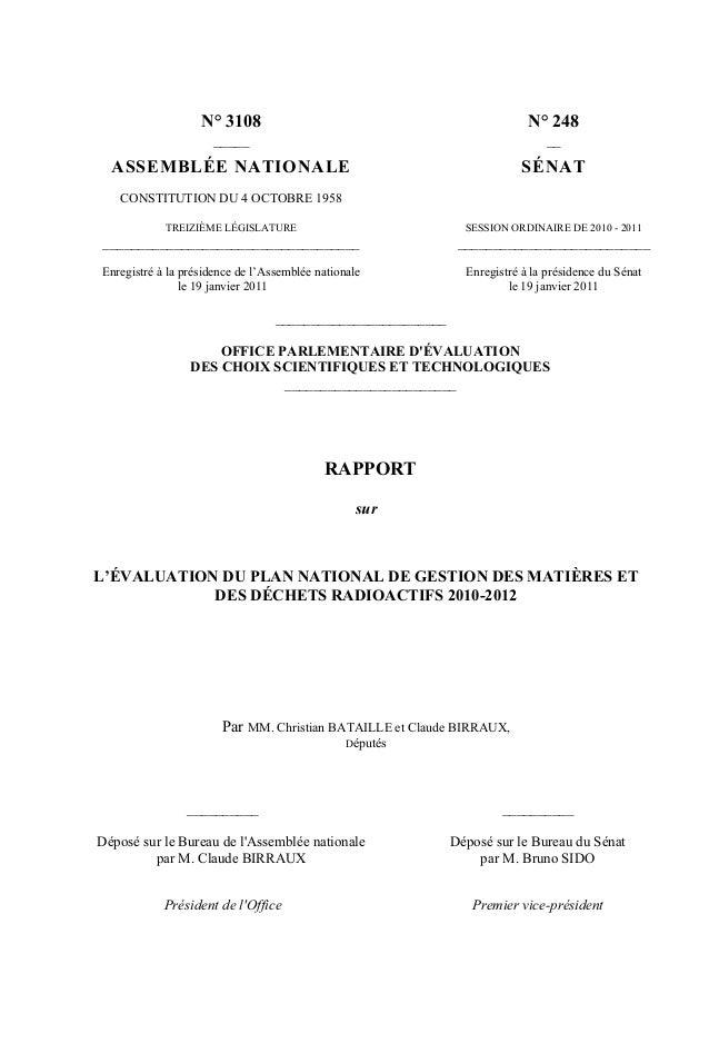 N° 3108 N° 248 _____ __ ASSEMBLÉE NATIONALE SÉNAT CONSTITUTION DU 4 OCTOBRE 1958 TREIZIÈME LÉGISLATURE SESSION ORDINAIRE D...