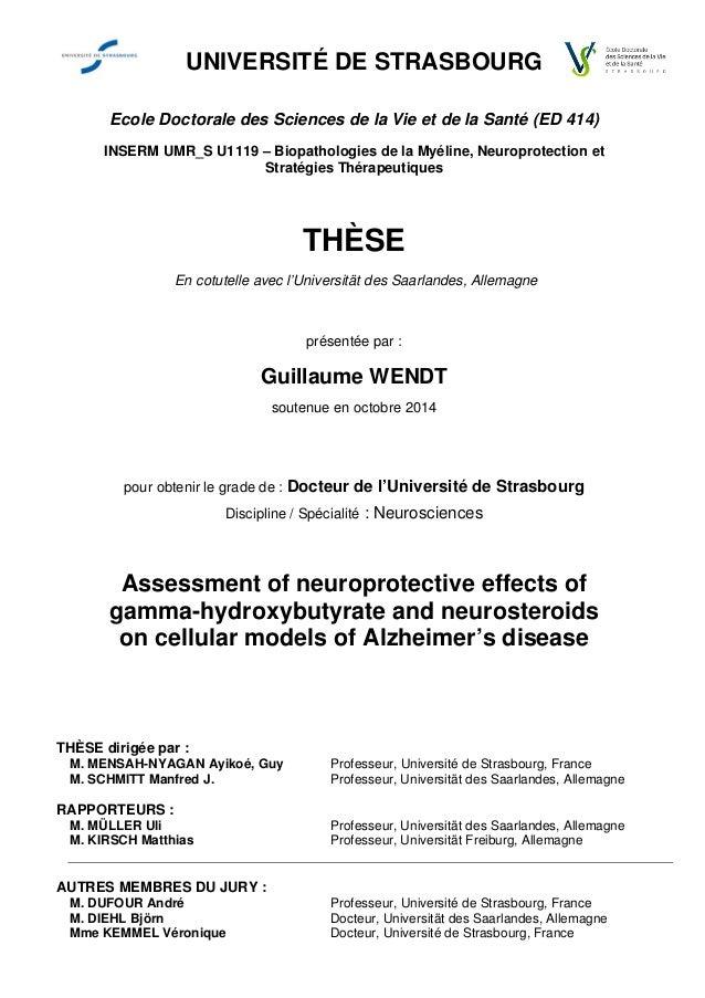 UNIVERSITÉ DE STRASBOURG Ecole Doctorale des Sciences de la Vie et de la Santé (ED 414) INSERM UMR_S U1119 – Biopathologie...