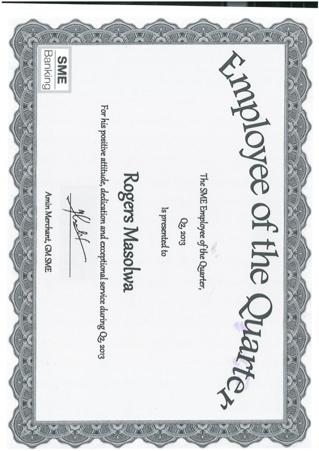 Certificate of sme employee of the quarter rogers for Employee of the quarter certificate template