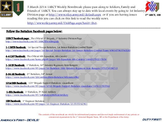 5 March 2014 1ABCT Weekly Newsbreak: please pass along to Soldiers, Family and Friends of 1ABCT. You can always stay up to...