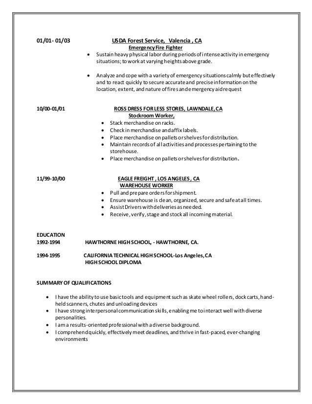 Intermodal service worker resume