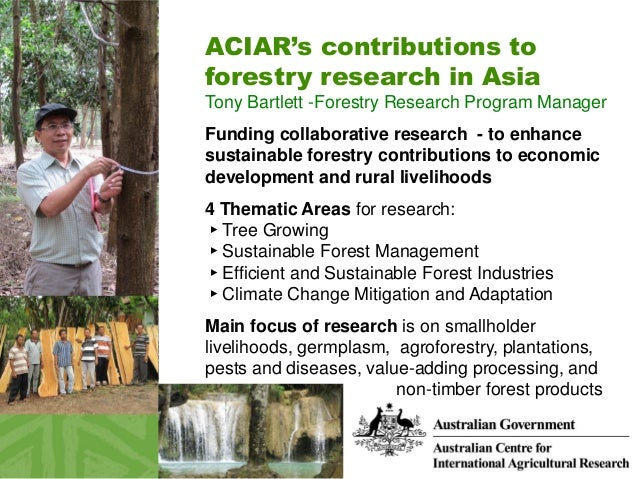 ACIAR's contributions to forestry research in Asia Tony Bartlett -Forestry Research Program Manager Funding collaborative ...