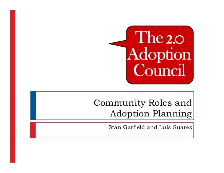 Community Roles and    Adoption Planning    Stan Garfield and Luis Suarez