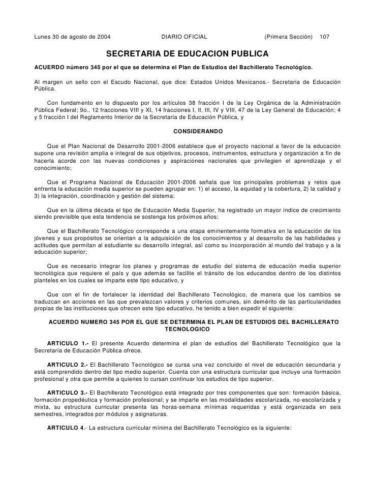 Lunes 30 de agosto de 2004                       DIARIO OFICIAL                           (Primera Sección)    107        ...