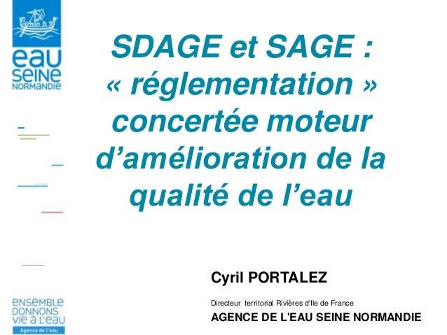 SDAGE et SAGE : « réglementation » concertée moteur d'amélioration de la qualité de l'eau Cyril PORTALEZ Directeur territo...