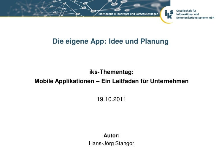 Mobile Applikationen: Idee und  Planung