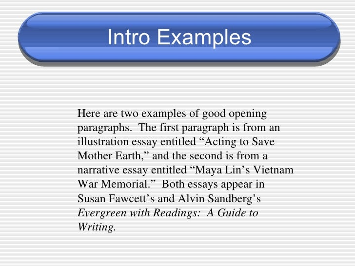 introduction of an essay example