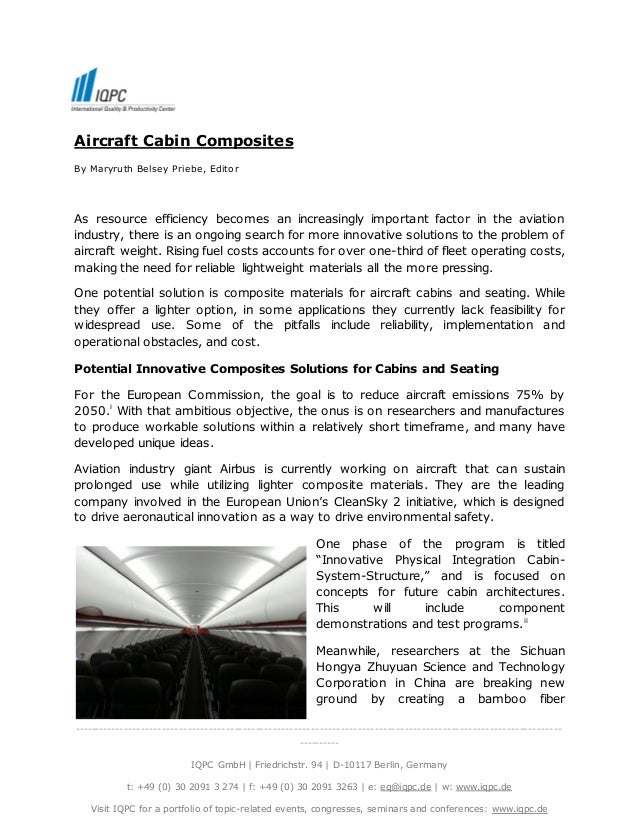 Aircraft Cabin Composites  By Maryruth Belsey Priebe, Editor  As resource efficiency becomes an increasingly important fac...
