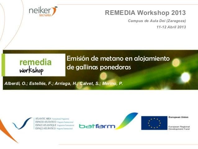 REMEDIA Workshop 2013Campus de Aula Dei (Zaragoza)11-12 Abril 2013Emisión de metano en alojamientode gallinas ponedorasAlb...