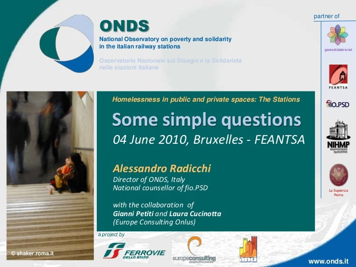 partner of                   ONDS                   National Observatory on poverty and solidarity                   in th...
