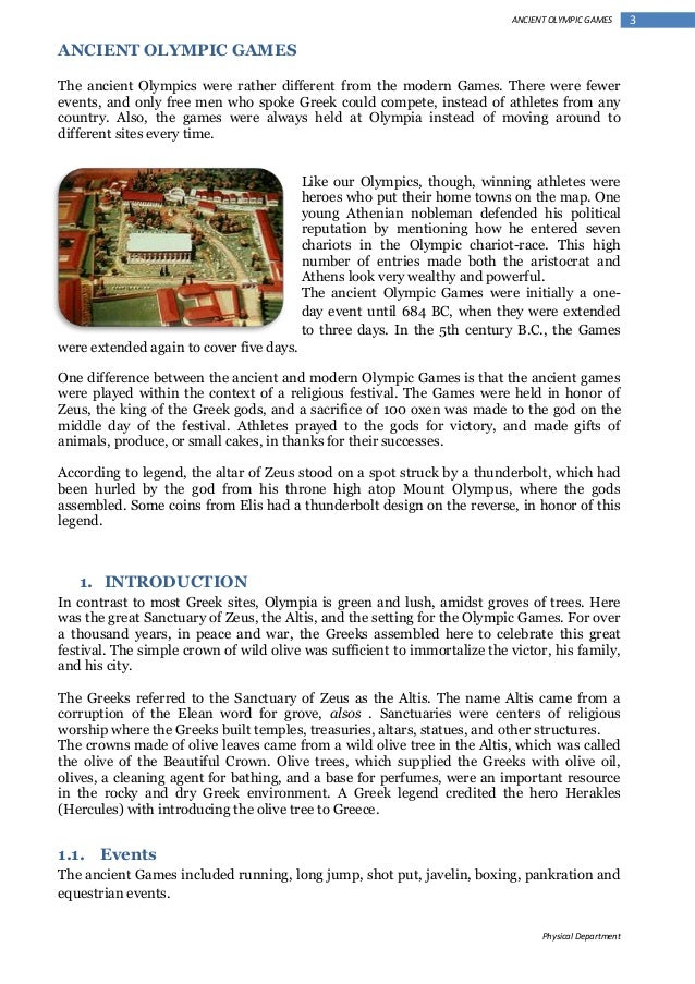 an analysis of the ancient olympic games in contrast to the modern world Ancient olympics modern olympics ancient and this activity is designed to compare and contrast the modern olympics with those ancient and modern.