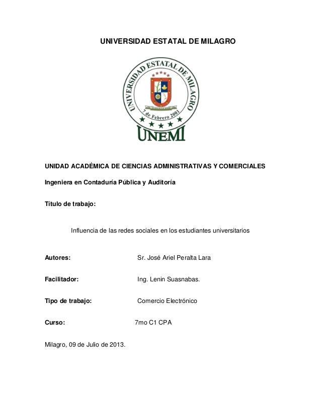 UNIVERSIDAD ESTATAL DE MILAGRO UNIDAD ACADÉMICA DE CIENCIAS ADMINISTRATIVAS Y COMERCIALES Ingeniera en Contaduría Pública ...