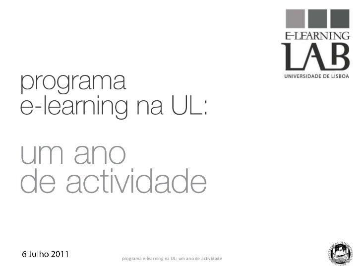 programa e-learning na UL: um ano de actividade<br />