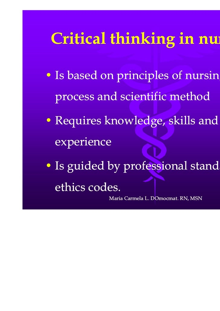 critical thinking skills as a nurse