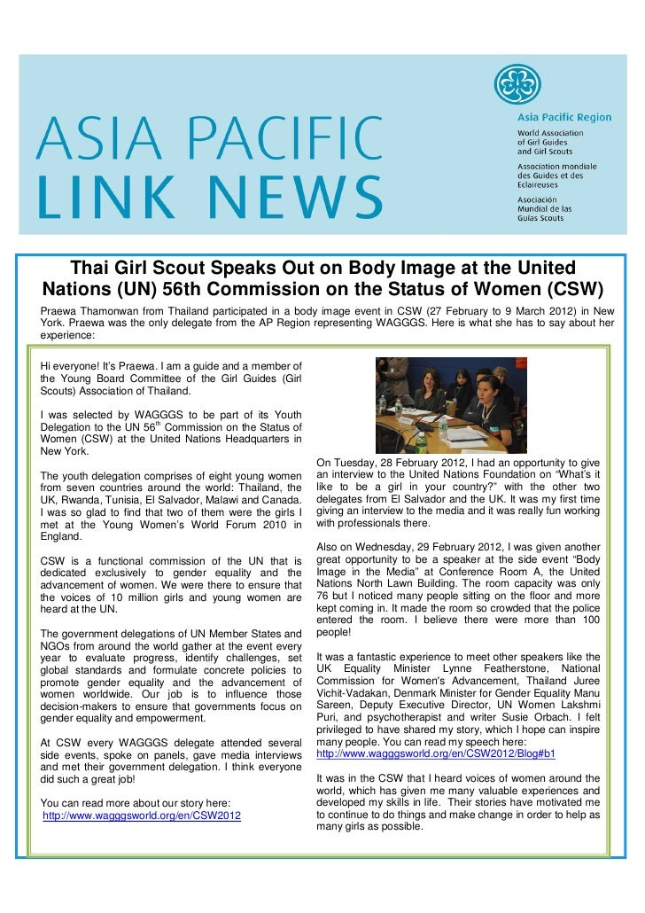 Thai Girl Scout Speaks Out on Body Image at the UnitedNations (UN) 56th Commission on the Status of Women (CSW)Praewa Tham...