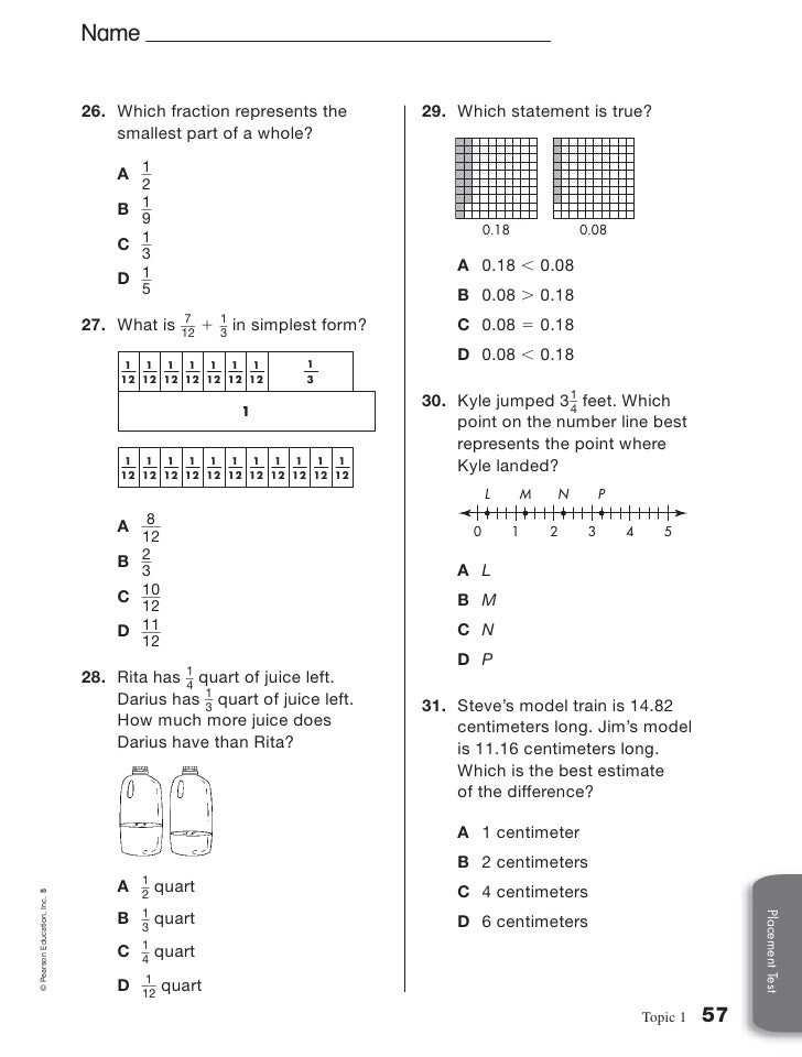 math worksheet : 1a 5th grade placement test : Pearson Education Inc Math Worksheets