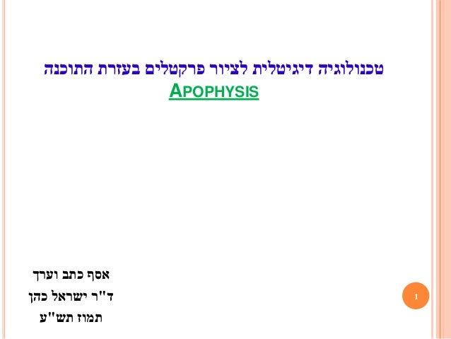 """1 דיגיטלית טכנולוגיההתוכנה בעזרת פרקטלים לציור APOPHYSIS וערך כתב אסף ד""""כהן ישראל ר תש תמוז""""..."""