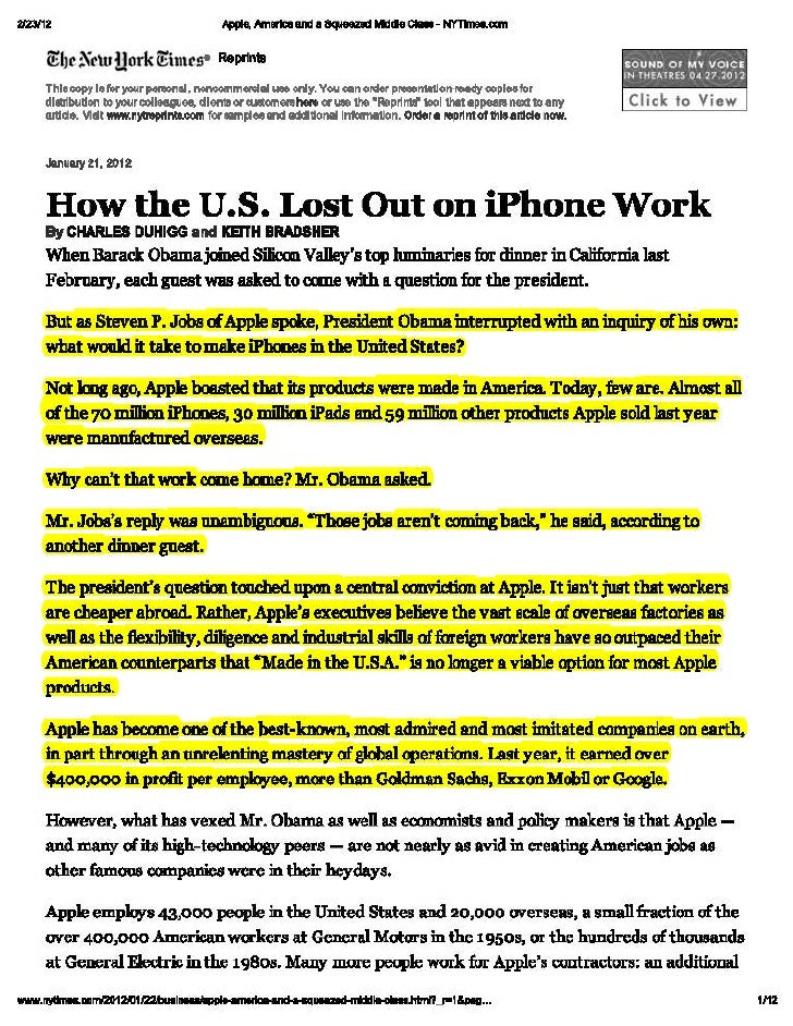 Apple, america and a squeezed middle class