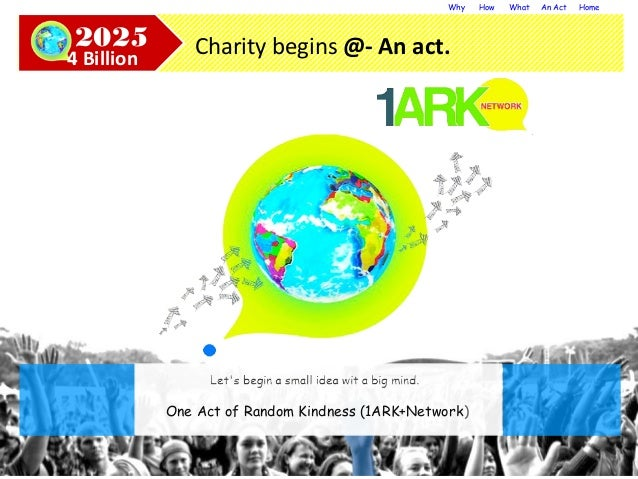 Why How What An Act Home Charity begins @- An act.2025 4 Billion One Act of Random Kindness (1ARK+Network)