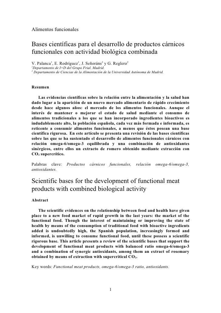 Alimentos funcionales  Bases científicas para el desarrollo de productos cárnicos funcionales con actividad biológica comb...