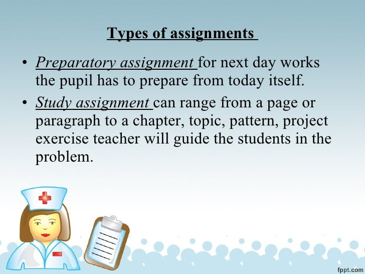 Kinds of assignments