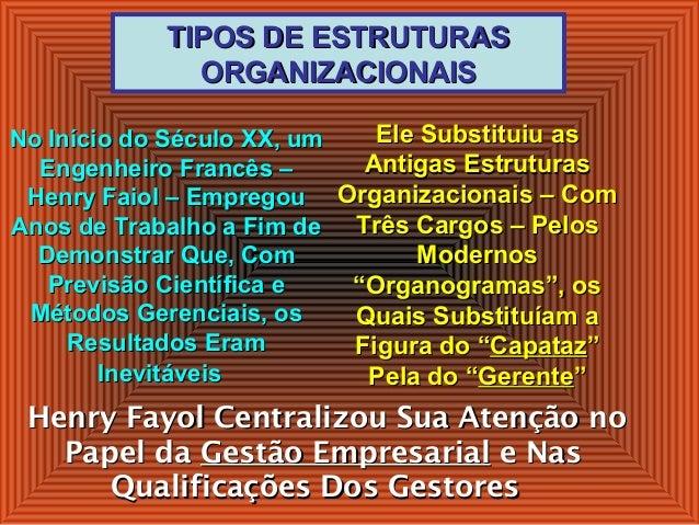 TIPOS DE ESTRUTURASTIPOS DE ESTRUTURAS ORGANIZACIONAISORGANIZACIONAIS Ele Substituiu asEle Substituiu as Antigas Estrutura...