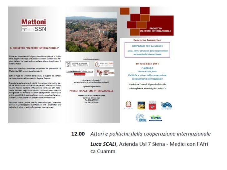 10_11_2011 COOPERARE PER LA SALUTE - Attori e politiche della cooperazione internazionale