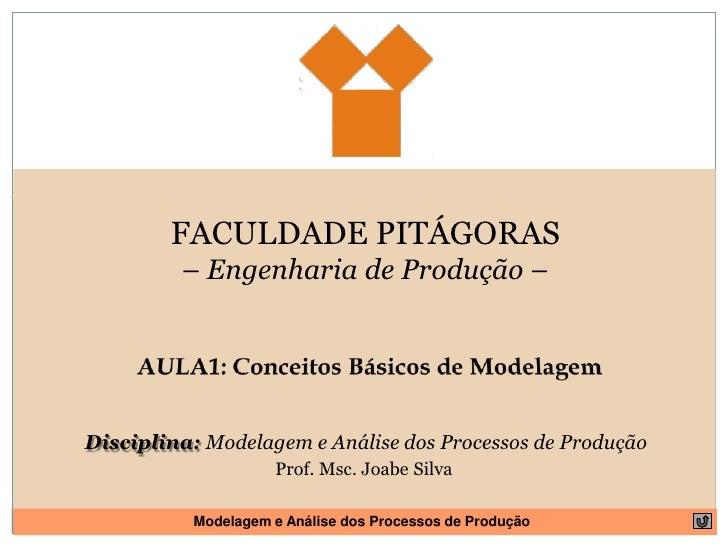 FACULDADE PITÁGORAS<br />– Engenharia de Produção – <br />AULA1: Conceitos Básicos de Modelagem<br />Disciplina: Modelagem...