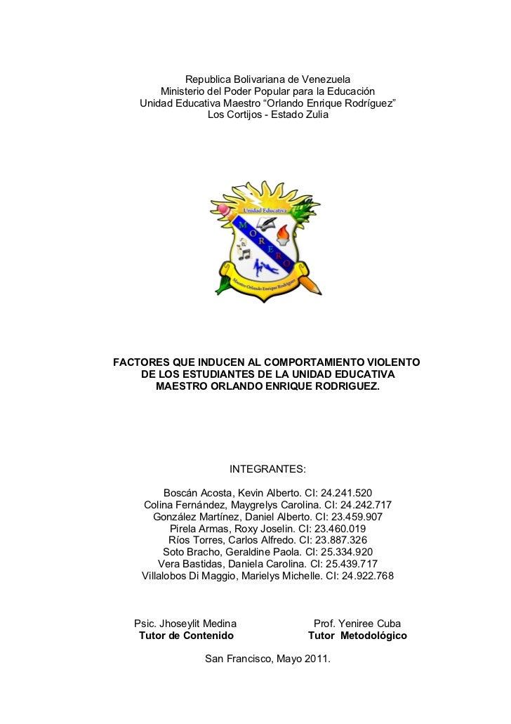 """Republica Bolivariana de Venezuela        Ministerio del Poder Popular para la Educación    Unidad Educativa Maestro """"Orla..."""