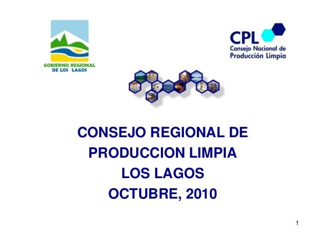 1 CONSEJO REGIONAL DE PRODUCCION LIMPIA LOS LAGOS OCTUBRE, 2010
