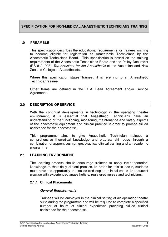 1/B2: Specification for Non-Medical Anaesthetic Technician Training 1 Clinical Training Agency November 2006 SPECIFICATION...