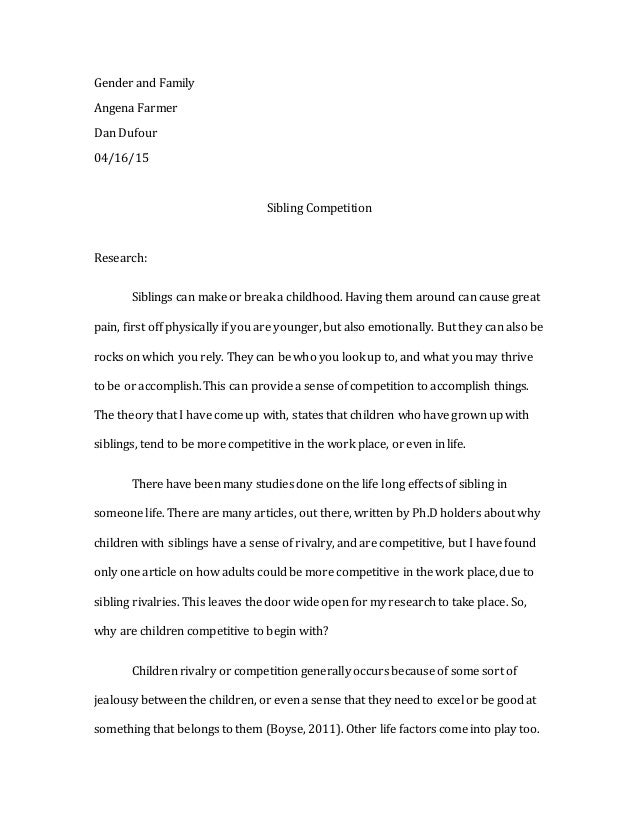 sibling rivalry research papers