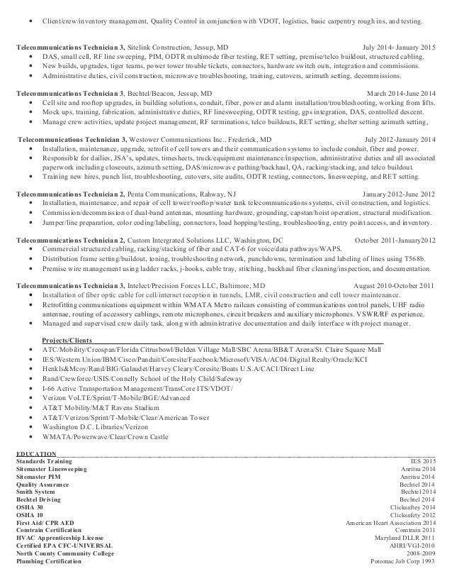 Telecom Configuration Management Resume Technician Example