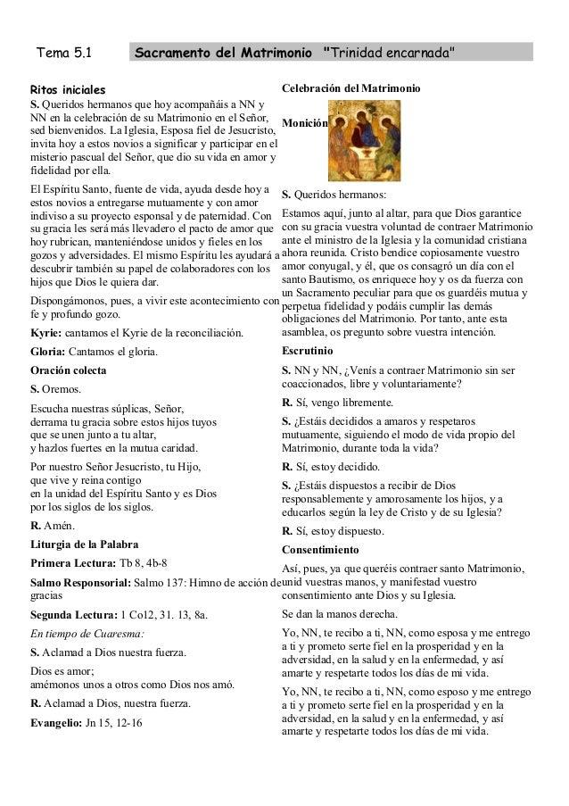 """Tema 5.1              Sacramento del Matrimonio """"Trinidad encarnada""""Ritos iniciales                                       ..."""