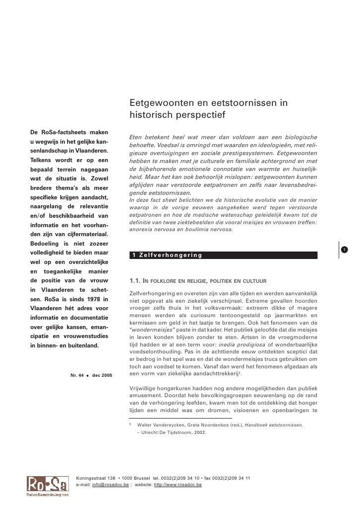 Eetgewoonten en eetstoornissen in                                         historisch perspectief De RoSa-factsheets maken ...