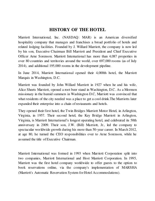 marriot case essay Read this social issues essay and over 88,000 other research documents mariott corp case advanced corporate finance, march 2004 1 weighted average cost of capital for marriott corp.