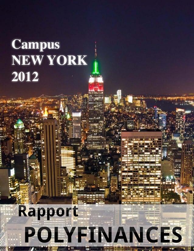 Rapport POLYFINANCES Campus NEW YORK 2012