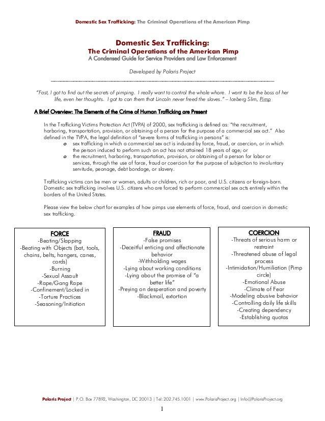 1B/12 domestic sex trafficking