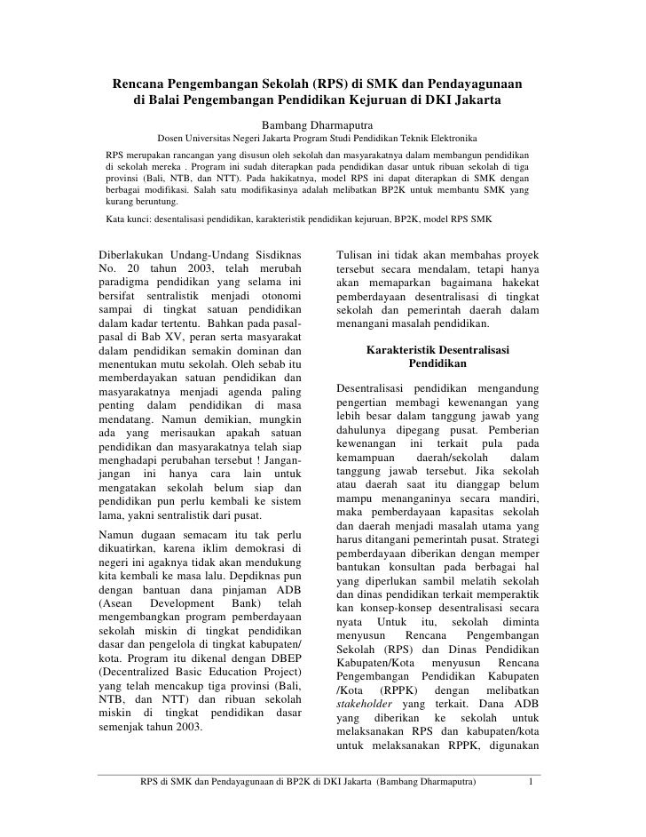 Rencana Pengembangan Sekolah (RPS) di SMK dan Pendayagunaan      di Balai Pengembangan Pendidikan Kejuruan di DKI Jakarta ...