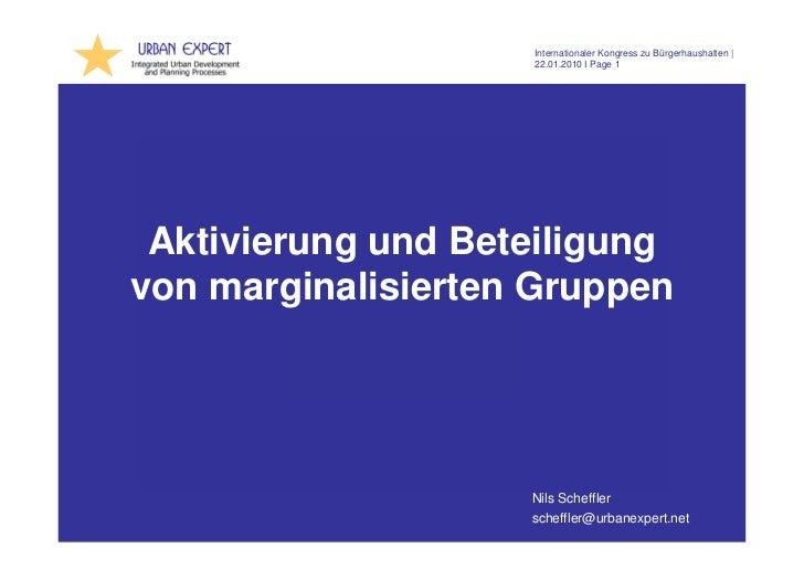 Internationaler Kongress zu Bürgerhaushalten                      22.01.2010 I Page 1 Aktivierung und Beteiligungvon margi...